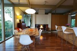 暖炉,ダイニングキッチン,リビング,シースルー